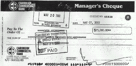 the much discussed cheque donation which was deposited to Arthur's personal account.