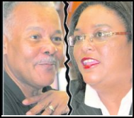 Former Prime Minister Owen Arthur (l) Leader of the Opposition Mia Mottley (r)