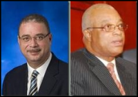 Former Prime Minister David Thompson (l) Former Chairman CLICO Holdings B'dos Ltd rumoured to be local partners in Cost-U-Less