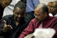 Retired Principal Matthew Farley (left) in discussion with former Alexandra School Principal Jeff Broomes