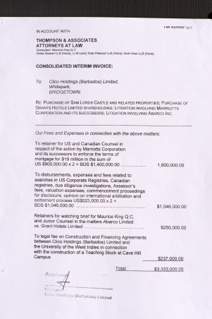 3.3 million dollar Thompson and Associates invoice