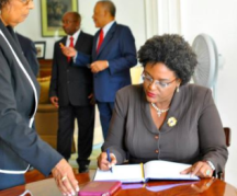 Mia Mottley's swearing in as leader of the Opposition at Government House with Arthur and Payne in February 2013