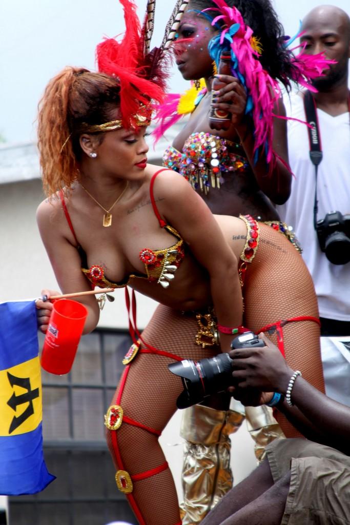 International pop superstar Rihanna, Barbados native, playing mas in Cropover