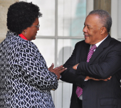 Leader of the BLP Mia Mottley (l) Former Leader of the BLP Owen Arthur (r)