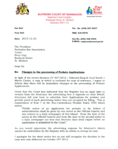 Letter from the Registrar of the Supreme Court sent to the Bar Association (BA) regarding a change to the system of processing probate applications - Click Image