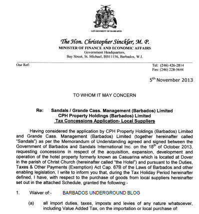 Read about the concessions government has given to CPH Property Holdings (Barbados) Limited and Grande Cass Management (Barbados) Limited together known as SANDALS – Click image