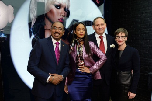 Photo caption: (L-R) Michel Sidibe Executive Director UNAIDS, Singer Rihanna, John Demsey, Chairman, M-A-C AIDS Fund and Nancy Mahon, Global Executive Director, MAC AIDS Fund, attend the MAC Cosmetics Launch of Viva Glam Rihanna at MAC Store Soho on January 29, 2014 in New York City