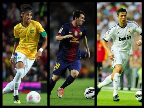 Soccer stars Messi, Neymar and Ronaldo