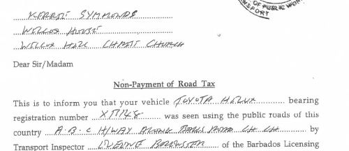 Click to read Kerri Symmonds Non-Payment Road Tax document