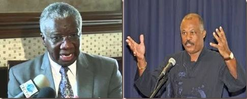 Prime Minister Freundel Stuart and outgoing Principal of UWI, Cave Hill