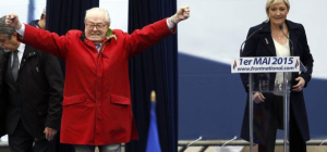 France's National founder Jean-Marie Le Pen on stage with his daughter Marine Le Pen