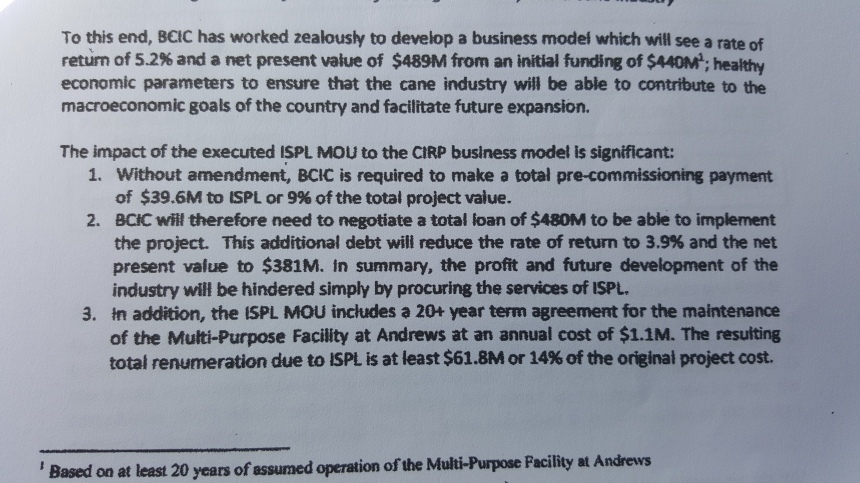 Excerpt from 'Review of Memrandum of Understanding with Inter Sugar Partnership Limited' document by the Barbados Cane Industry Corporation