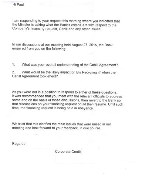 Paul Bynoe - Banker's Letter