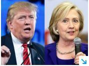 Democratic and Republican candidates Trump and Clinton