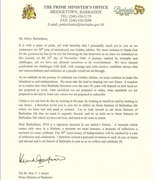 Prime Minister Stuart_50th Independence Letter