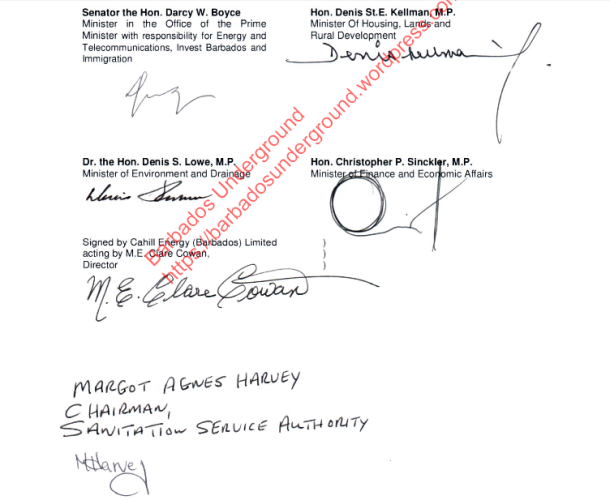 Signatures of Ministers Boyce, Kellman, Sinckler and Lowe on the Power Purchase Agreement