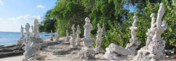 The work of Sculptor Philip King located at the popular Batts Rock beach.
