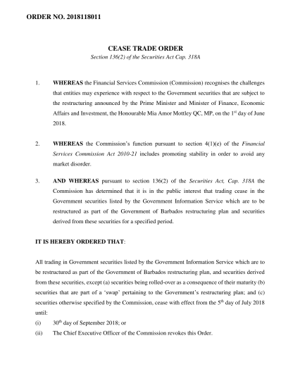 FSC Order - Cease Trade Order (Government Securities)-1