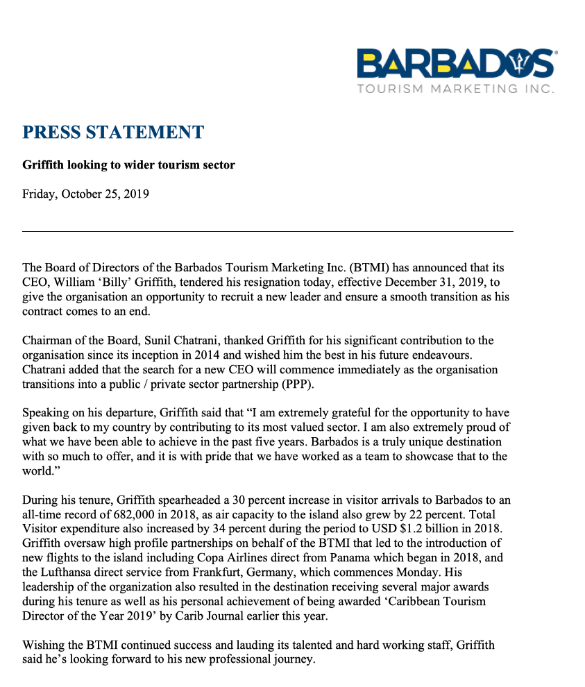 Billy Griffith press release